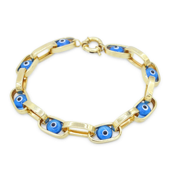 Womens 14K Yellow Gold Blue Eye 7