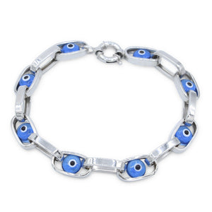 "Womens 14K White Gold Blue Eye 7"" Chain Bracelet"