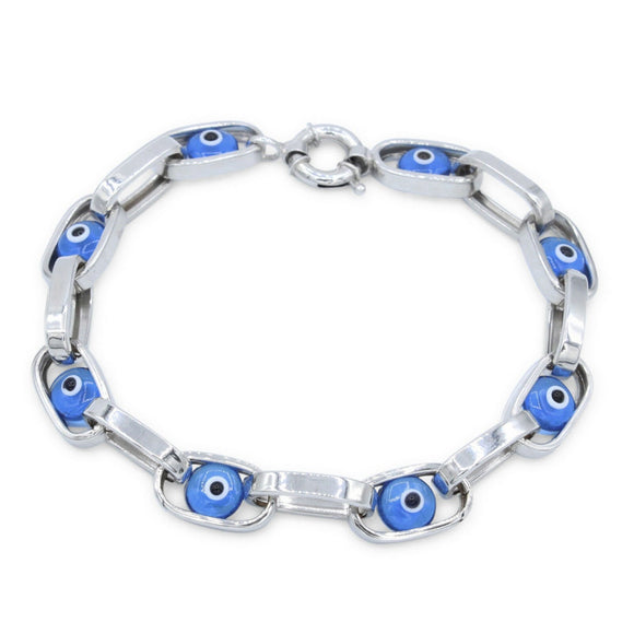 Womens 14K White Gold Blue Eye 7
