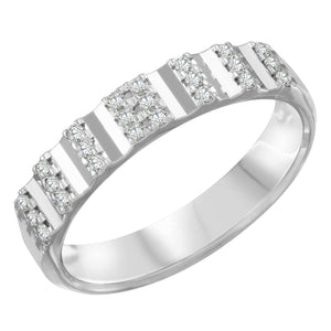 Womens 14K White Gold 0.20Ct Diamond Vs-Si G-H 4mm Band Ring Size 6