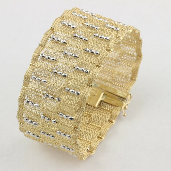 Womens Genuine Real 14K Yellow Gold Mesh Bracelet 30mm Wide 7