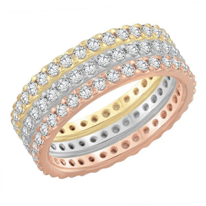 Womens 14K Multicolor Gold 1.65Ct Diamond Vs-Si G-H Wedding Band 3Pcs Ring
