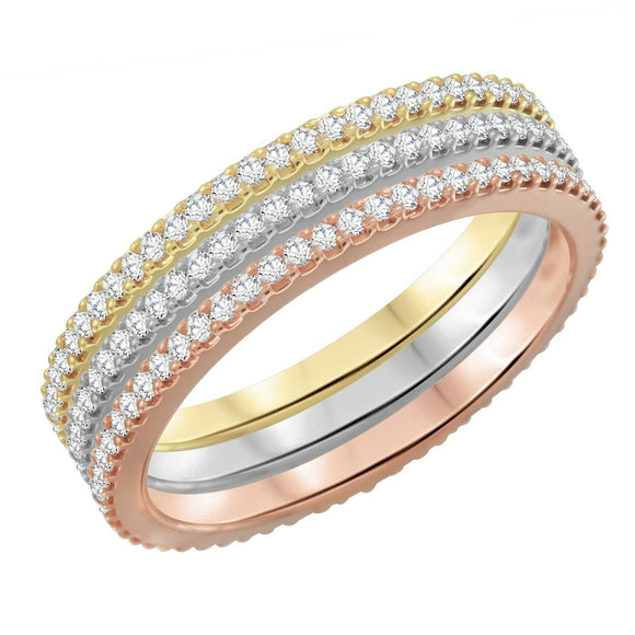Womens 14K Multicolor Gold 0.90Ct Diamond Vs-Si G-H Eternity 3Pcs Ring Size 6