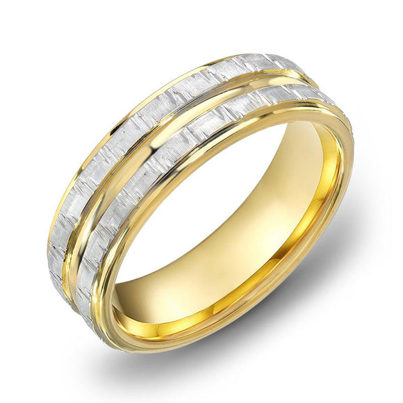14k Gold Two Tone Yellow Gold & DC WG Comfort fit 6mm Wedding Band Ring