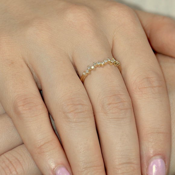 Diamond Solid Gold Dainty Wedding Band Ring