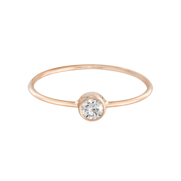 14k solid Rose yellow gold handmade diamond bezel ring for girls women