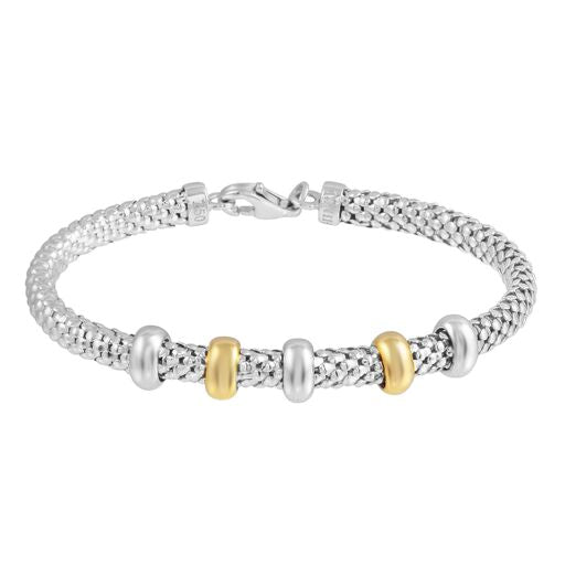Solid 18K White Gold Movable Two Tone Beads Cuff Bracelet