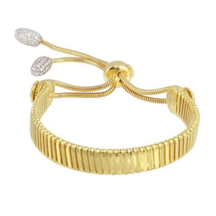 18K Solid Gold Women Slider Adjustable CZ Bracelet