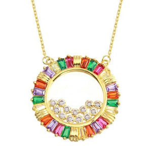 18K Yellow Gold Baguette CZ Muliticolor Circle Pendant Necklace Adjustable