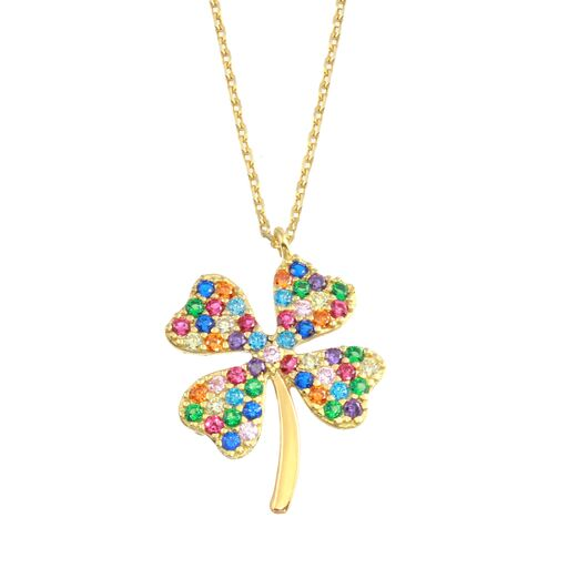 18K Yellow Gold CZ Muliticolor Clover Pendant Necklace Adjustable