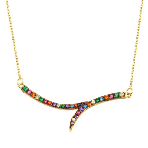 18K Yellow Gold CZ Muliticolor Pendant Necklace Adjustable