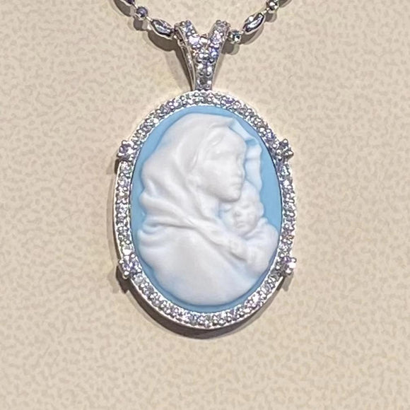 Diamond 18K White Gold Cameo Holy Mary Pendant