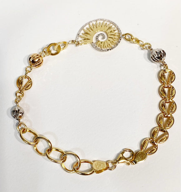 18K Solid Gold Shell and Beads Tri-tone Women Bracelet