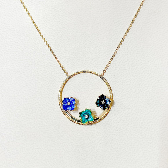 18K Yellow Gold Blue Green Flower  Chain Necklace