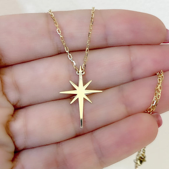18K Yellow Gold Plain Star Chain Necklace