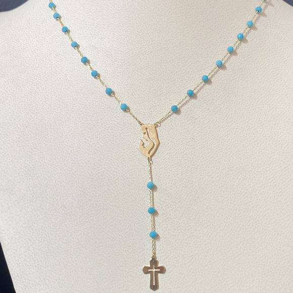18K Yellow Gold Blue Beads Rosary Chain Necklace