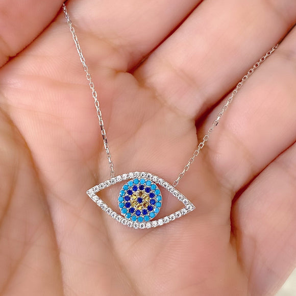 Womens 18K White Gold Blue Eye Pendant Chain 16