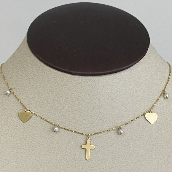 18K Yellow Gold Beads Heart Cross Chain Necklace