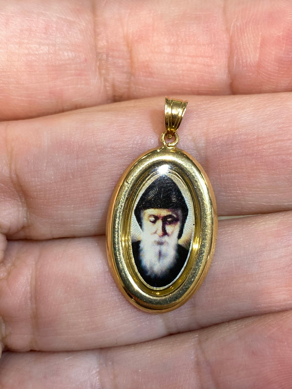 18K Yellow Gold Medal Saint Charbel Photo Oval Icon Pendant