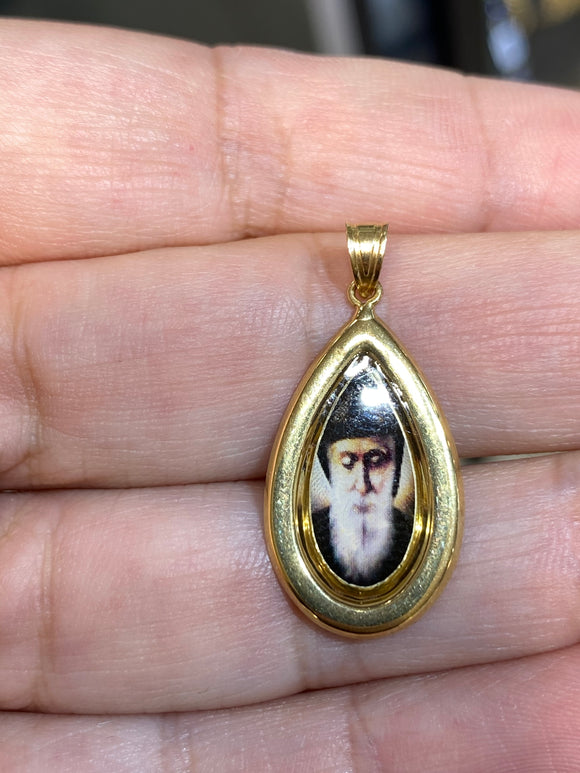 18K Yellow Gold Medal Saint Charbel Photo  Icon Pendant