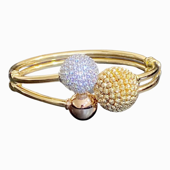 18K Solid Gold Wide Beads CZ Tri Color Bangle