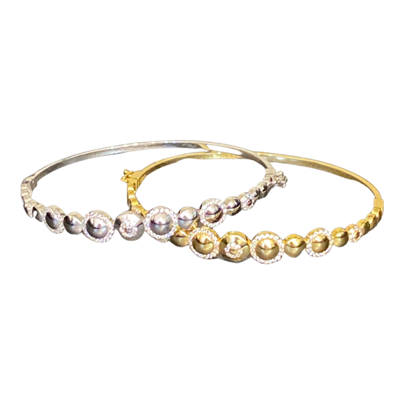 18K Solid Gold CZ Wide Bangles pair White and Yellow