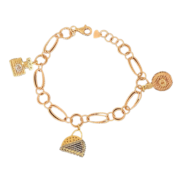18K Rose Gold Heart Bracelet