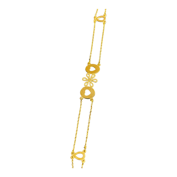 18K Yellow Gold Flower and Hearts Bracelet