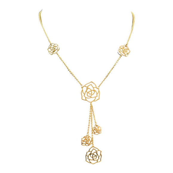 18K Yellow Gold Flower Necklace