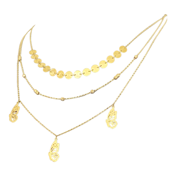 18K Yellow Gold 3 Layer Necklace