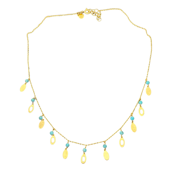 18K Yellow Gold Blue Bead Oval Necklace