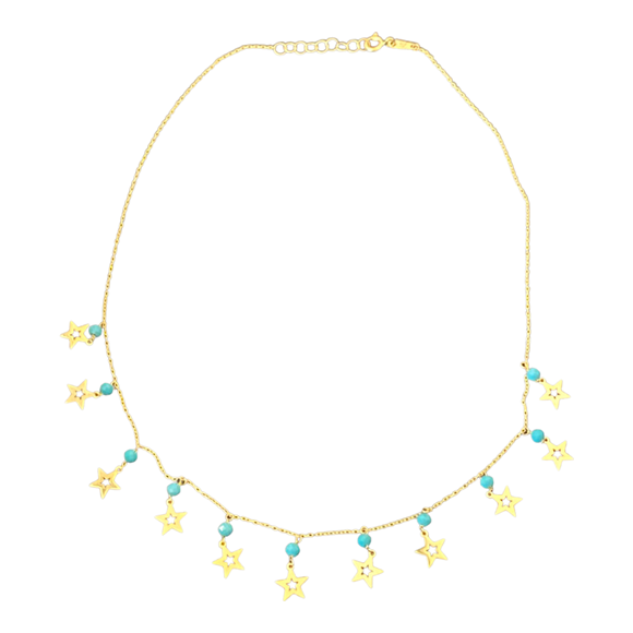 18K Yellow Gold Blue Bead Star Necklace