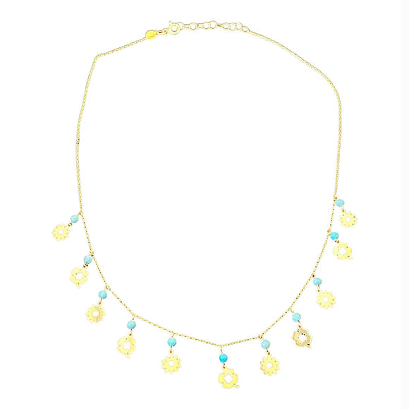 18K Yellow Gold Blue Bead Flower Necklace
