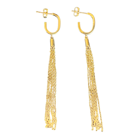18K Solid Yellow Gold Dangle Chain Earrings
