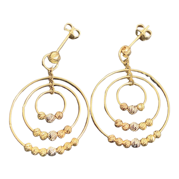 18K Solid Yellow Tri-Tone Dangle Bead Earrings