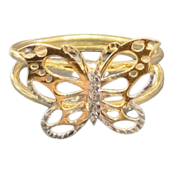 18K Yellow Gold Diamond Cut Two Tone Butterfly Plain Ring