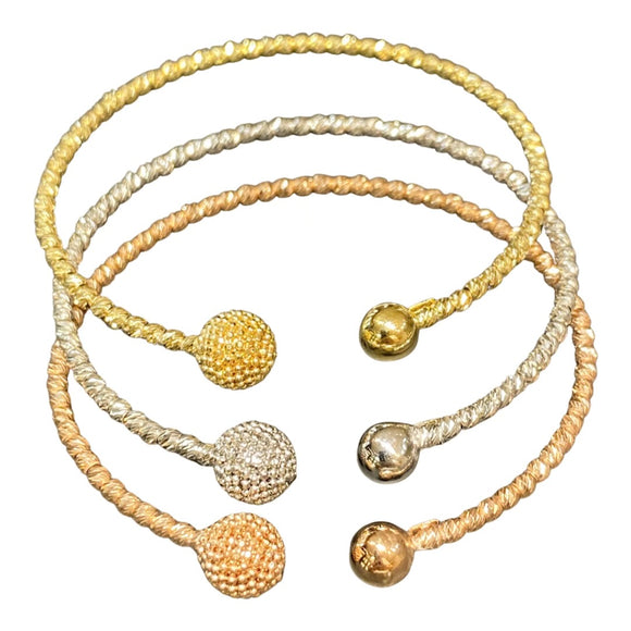 18K Solid Gold Tri Tone 3 Bangles  White, Yellow, Rose Gold