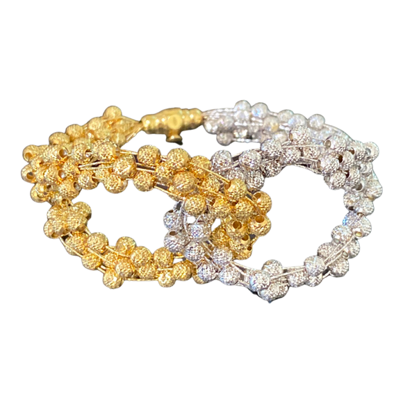 18K Solid Gold Wide Beads Bracelet Two Colors