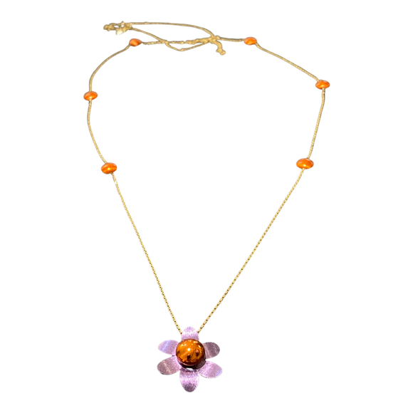 18K Yellow Gold Multicolor PURPLE  Flower Long Chain Necklace 36 inches