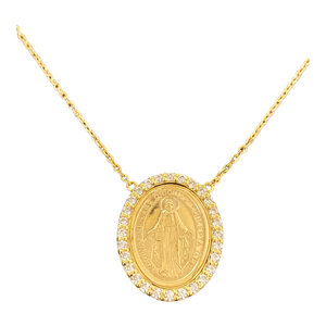 Mary Miraculous Medal 18K Yellow Gold Cubic Zirconia Necklace