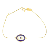 18K Yellow Gold Blue Evil Eye Bracelet