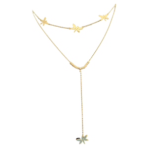 18K Yellow Gold 2 Layer Butterfly Necklace