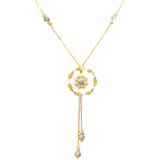 18K Yellow Gold Black Flower Chain Necklace