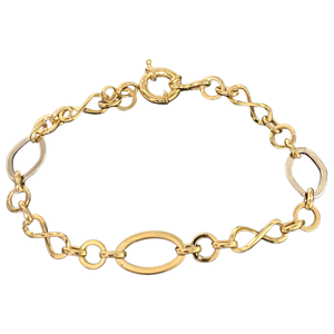 18K Solid Gold Two Tone Link Chain Bracelet
