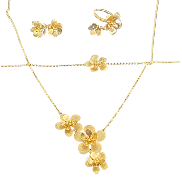 18k solid Yellow Gold Flowers Set 4 PCS