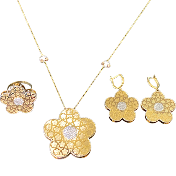 18k solid Yellow Gold Cubic Zirconia Flowers Set 3PCS