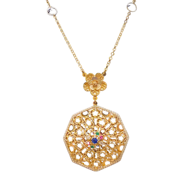 18K Yellow Gold Cubic Zirconia Big Necklace