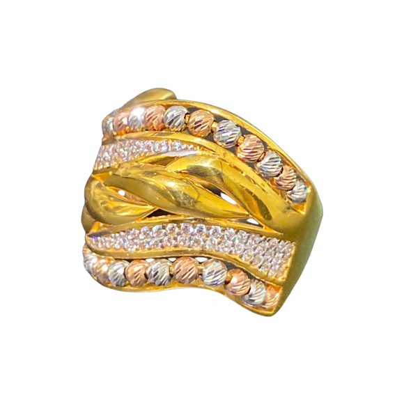21K Yellow Gold Cubic Zirconia Beads Ring