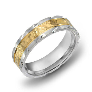 18k Gold Two Tone Yellow Gold & Satin WG Comfort fit 6mm Milgrain Wedding Band Ring