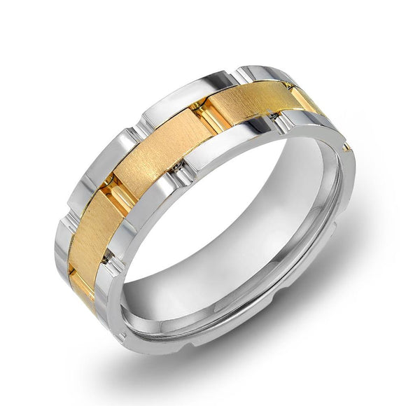 18k Gold Two Tone White Gold & Satin YG Comfort fit 7mm Milgrain Wedding Band Ring